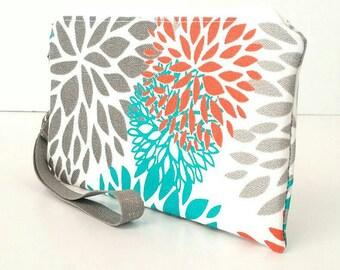 Gray/white/pink/coral/blue/aqua floral/flower wristlet/handbag/purse/pouch/bag