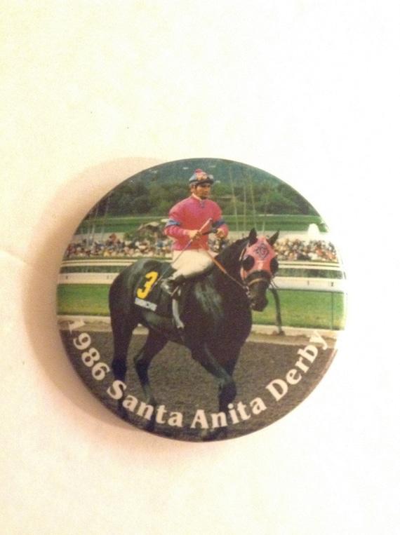 Vintage 1986 Collectible Santa Anita Races Derby Button Pin