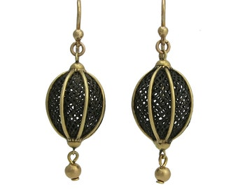 Victorian 14K Gold & Braided Hair Mourning Earrings