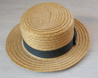 Vintage Mens Straw Boater Hat With Black Grosgrain Ribbon Size 22.5 inches