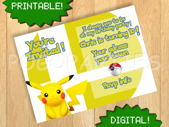 Pokemon Birthday Party Printable Invitations Page Three – Birthday Pikachu Card