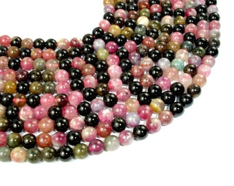 Watermelon Tourmaline Beads, 6mm Round Beads, 15.5 Inch, Full strand, Approx 66 beads, Hole 1 mm, AB+ quality (427054013)