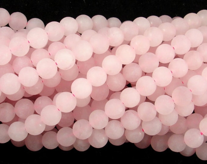 Matte Rose Quartz Beads, 6mm (6.4 mm) Round beads, 15 Inch, Full strand, Approx 63 beads, Hole 1 mm (391054017)