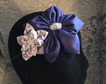 Large hand beaded floral fascinator