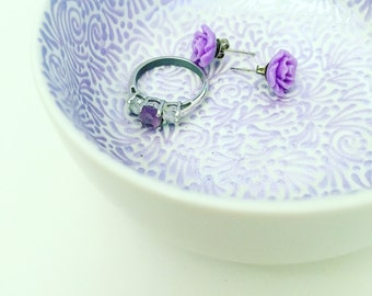 Hand Painted Jewelry Dish (Pearlized Lavender)