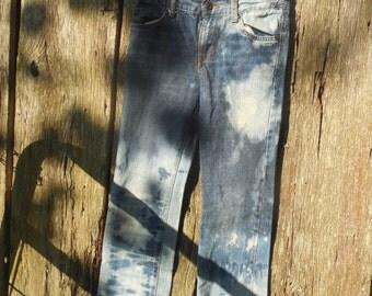One of a kind Girls splatter Bleached distressed skinny jeans adjustable waist size 10 destroyed kids street wear urban style