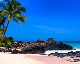 art print, wall decor, beach photography, home decor, fine art, beach pictures, seascape, secret beach, tropical, palm tree, maui, hawaii