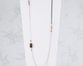 Smoky Quartz Layered Asymmetric Necklace. Tundra Sapphires. Layered Necklace. Smoky Quartz Jewellery.