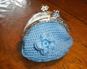 coin purse crochet silver clasp