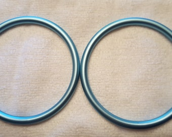 "Large 3"" Aluminum Sling Rings, Sky Blue Baby Rings"
