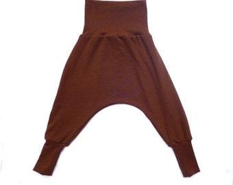 SALE Wool longies II Baby Harem Pants II Brown- Flexi-sizing I 0-8 months & 8-24 months, cloth nappy, babywearing