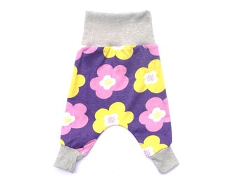 Purple Floral -Baby Harem Pants II Flexi-sizing 0-8, 8-24 months II Baby pants, Cloth Nappy, big butt, Baby leggings, Babywearing, Cotton
