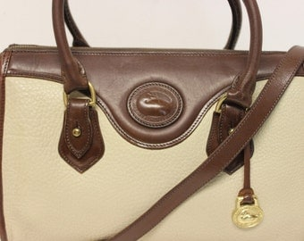 Dooney & Bourke~AWL~Vintage Satchel~Bone w Brown Burnt Cedar Shoulder Strap~USA