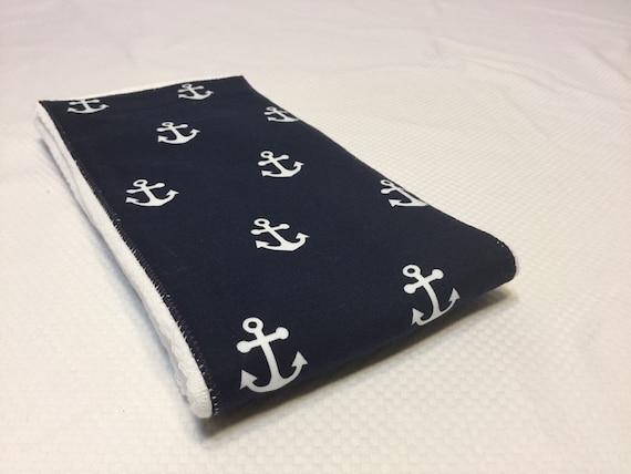 Burp Cloth- Navy Anchor- FREE Embroidery