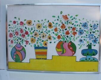 Original  Signed Silvia Lieb Mixed Media  Abstract Art Painting.
