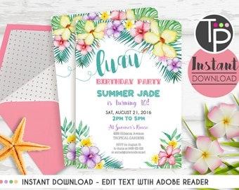 LUAU PARTY Invitation, Instant Download, Tropical Flowers Invitation, Pool Party Luau invitation, Beach Party Invitation, Summer Invitation