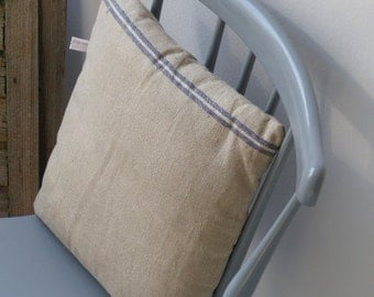 pillow from antique linen: jeans blue stripes 40*40cm