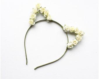 Ivory/Cream Roses Kitty Crown Cat Ears Headband