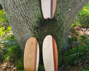 """Surf Board """"Surf's Up"""" use your board for serving cutting or decoration. Maple and Cherry woods are accented with exotic wood unique design"""