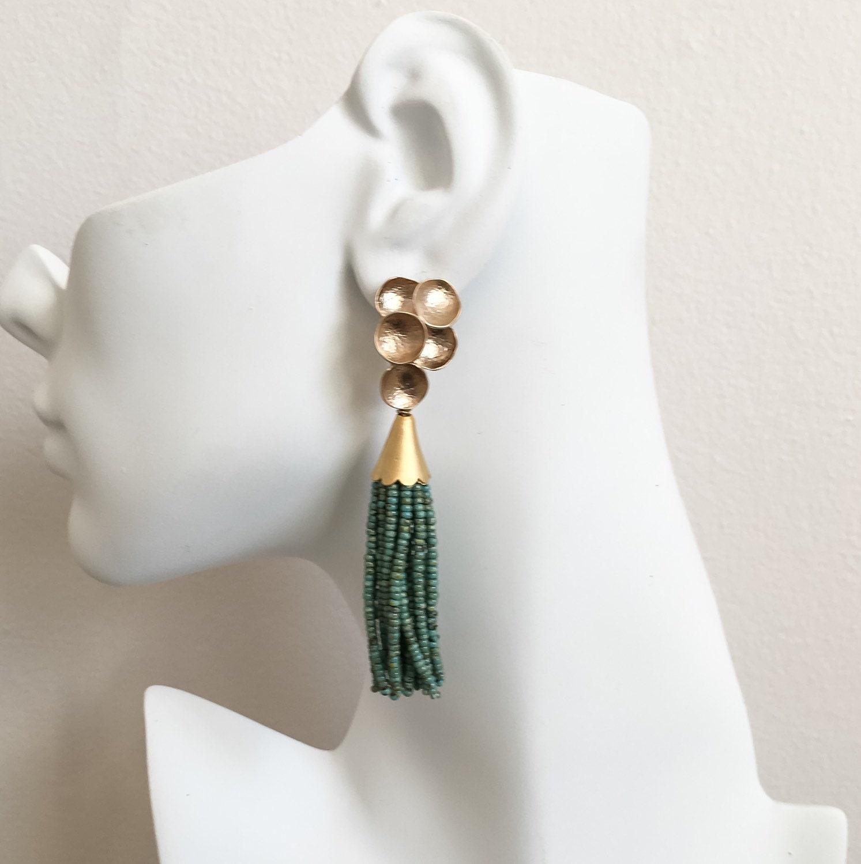 turquoise beaded tassel earrings turquoise earrings