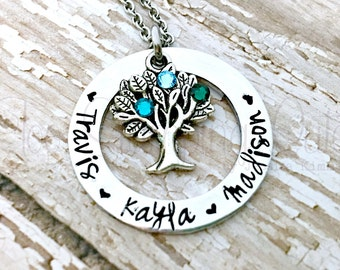 Family Tree | Family Necklace | Family Name | Family Tree Necklace | Birthstone Necklace | Mom Necklace | Grandma Necklace | Tree Of Life