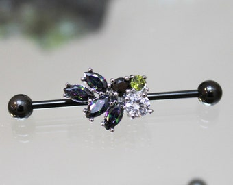 Mystic Rainbow Crystal Cluster Scaffold/Industrial Piercing Barbell - UK Seller