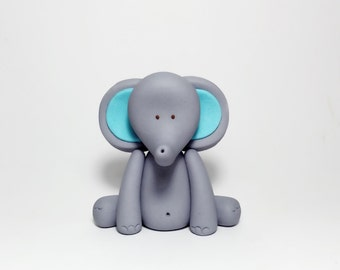 Fondant Elephant Cake Topper. Edible Elephant Cake Topper. Elephant Baby Shower. Elephant Birthday. Fondant Jungle Animals.