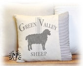 Sheep, Pillow Cover, Farmhouse, Ticking , Dropcloth