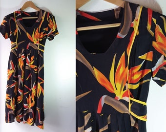 Vintage Floral dress, Silk dress, M Size, Luxury dress