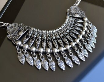 Silver Necklace, Chocker Necklace, Colar Necklace, Statement Silver Necklace, Stacked Bib Necklace, Tribal, Ethnic, Collar Necklace (635)