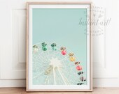 Ferris wheel PRINTABLE art,nursery decor,nursery art,retro art,pastel art,colorful art,teal art,aqua art,carnival print,nursery printables