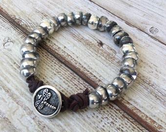 Single wrap silver beaded bracelet, handmade bracelet by rubybluejewels