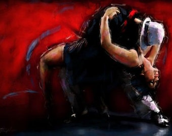 Figure Oil Painting Pure Passion Tango passion Tango Dance Painting Contemporary Fine Art By Chris Art - Custom Made - Size:24X32In
