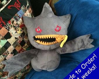 Banette Handmade Custom Pokemon Plush! Poseable! Working Zipper!