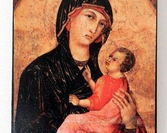 Duccio di Buoninsegna, Madonna and Child 1280s, Pinacoteca Nazionale, Siena.FREE SHIPPING