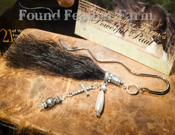 Handmade Horsehair Tassel Bookmark with Bali Silver Beads, Rhinestones, Faux Pearls and Jewels