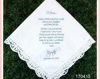 Mother of the Bride Gift-Wedding Handkerchief-PRINTED-CUSTOMIZED-Wedding Hankerchief-Mother of the bride Gift-Mother of the groom gift