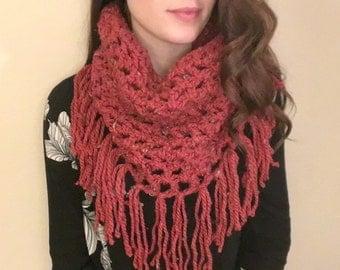 Handmade Chunky Knit Burnt Orange Fringe Crocheted Cowl
