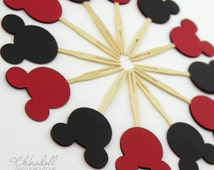 mickey mouse cupcake toppers | red and black double sided | bamboo cocktail forks | mickey mouse inspired | mickey ears