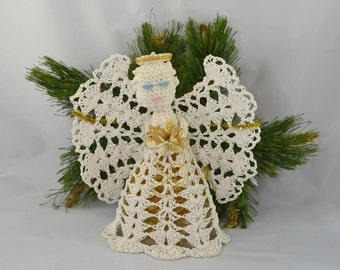 Vintage Hand Crocheted And Stiffened Angel Tree Topper