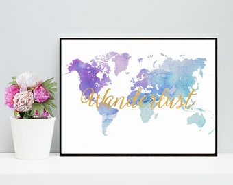Wanderlust, Watercolor Map, World Map Print, Printable  Art, blue World Map,  Wall Art, Printable quote,  Instant  Download, Home Decor