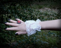 Claudia Cuffs // Pair of Dainty White Lace Elasticated Wristlets Elegant Floral // Gothic Goth Lolita Victorian Steampunk Cosplay Wedding