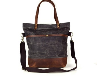 Real Leather ,gray waxed canvas tote, Canvas Base Cotton Adjustable Strap - Leather Handles/Canvas and Leather Tote/Waterproof bag