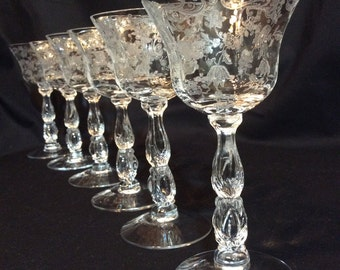 6~ Vintage Cambridge Etched Glass Chantilly Stems Glasses Liquor
