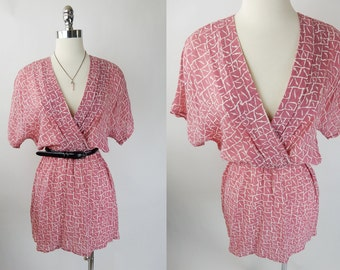 80s Vintage Salmon Pink Lynda Pizzuto For Phoebe Abstract Print Dolman Slouchy Sheer Wrap Dress S/M