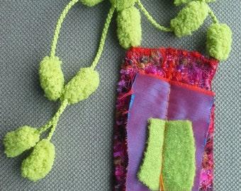 Textile necklace/necklace. Original creation. Colours.