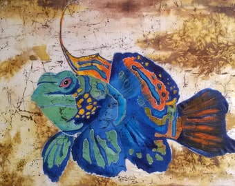 Mandarinfish, silk painting, batik wall hanging decoration, original painting