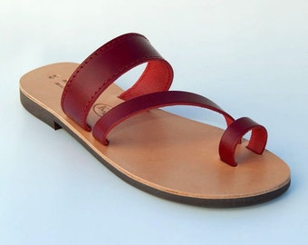 Greek Leather Sandals (40 - Burgundy red)