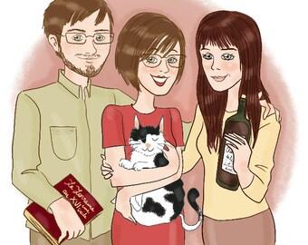 Family custom portrait - 3 person - illustration