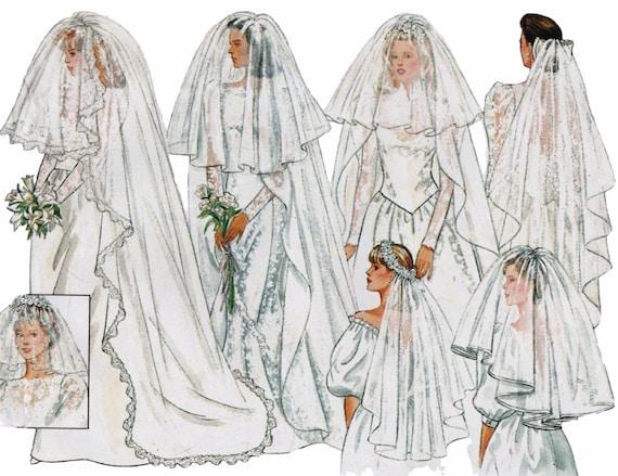 Wedding Veil Pattern Bridal DIY BUTTERICK 4649 UNCUT Blusher Fingertip Cathedral Circular